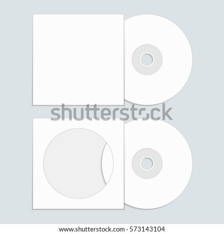 White Compact Disk Cover Mock Template Stock Vector