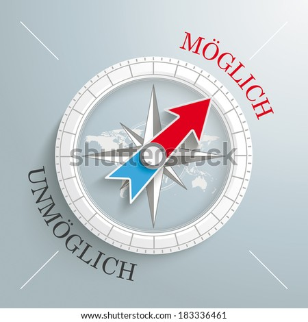"White compass on the grey background. German text ""Moeglich"" and ""Unmoeglich"", translate ""Possible"" and ""Impossible"". Eps 10 vector file. - stock vector"