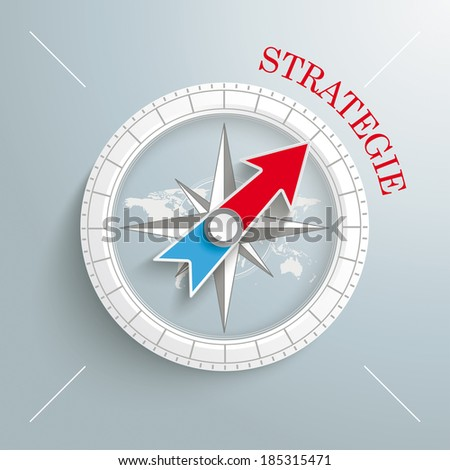 """White compass on the grey background. German text """"Strategie"""", translate """"Strategy"""". Eps 10 vector file. - stock vector"""