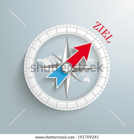 """White compass with red german text """"Ziel"""", translate """"Target"""" on the grey background.  Eps 10 vector file. - stock vector"""