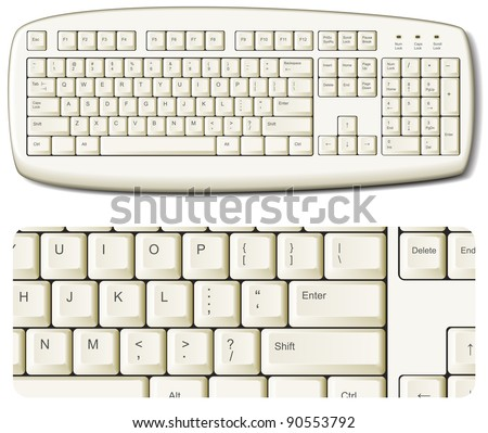 White computer keyboard - EPS 8 vector icon - stock vector