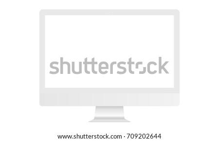 White Computer Monitor Imac Mockup Blank Stock Vector 709202644 ...