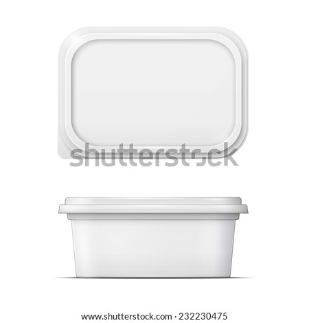 White container for margarine spread, butter or melted cheese,  front and upper view on white background. Packaging collection. - stock vector