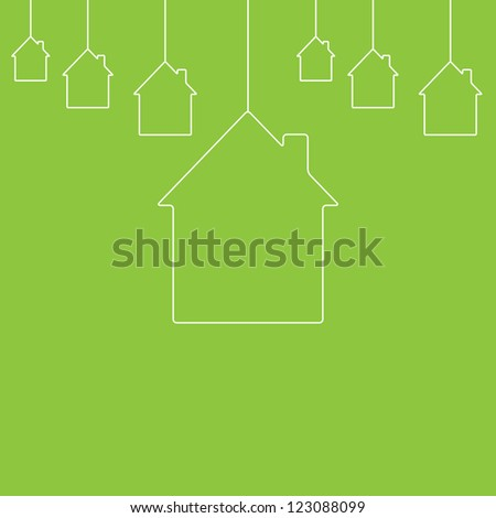White contour houses hanging on green background. New house concept - stock vector