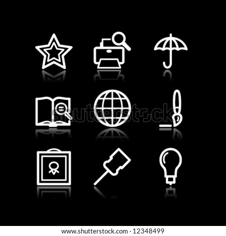 White contour web icons, set 9 - stock vector
