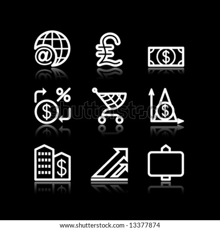 White contour web icons, set 23 - stock vector
