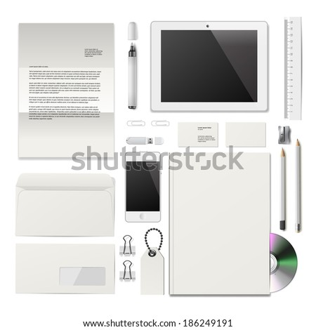 White Corporate ID mockup. Consist of business cards, cd disk, notepad, pen, envelope, badge, stationery, usb flash drive, folder, tablet, smart phone, blank. Vector illustration.  - stock vector