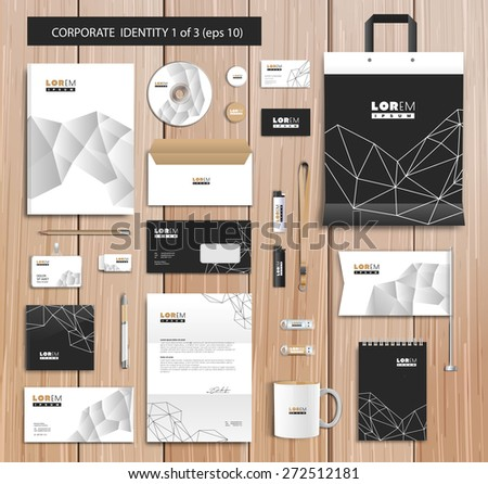 White corporate id template design with black, white, gold abstract elements. Documentation for business. Eps 10 - stock vector