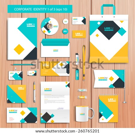 White corporate id template design with blue, yellow abstract elements. Documentation for business. Eps 10 - stock vector
