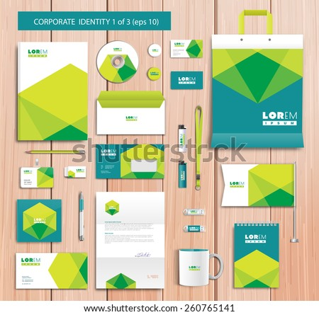 White corporate id template design with green, blue abstract elements. Documentation for business. Eps 10 - stock vector