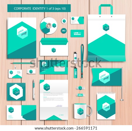 White corporate id template design with green, celadon abstract elements. Documentation for business. Eps 10 - stock vector