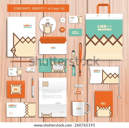 White corporate id template design with green, orange, yellow abstract elements. Documentation for business. Eps 10 - stock vector