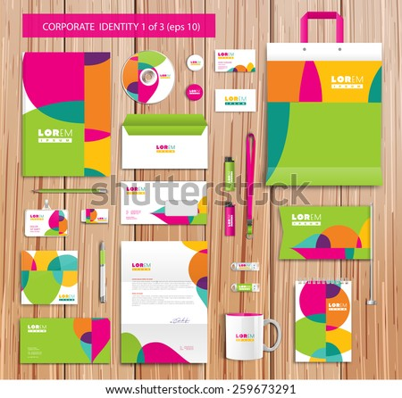 White corporate id template design with green, yellow, pink abstract elements. Documentation for business. Eps 10 - stock vector