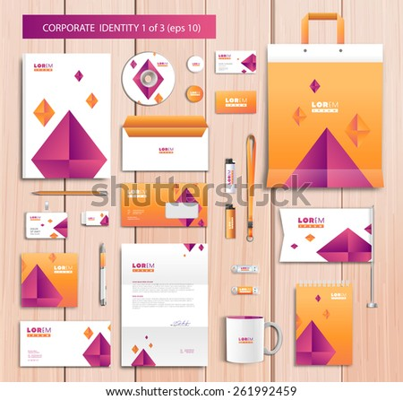 White corporate id template design with pink, yellow abstract elements. Documentation for business. Eps 10 - stock vector