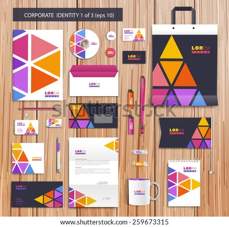 White corporate id template design with pink, yellow, violet abstract elements. Documentation for business. Eps 10 - stock vector