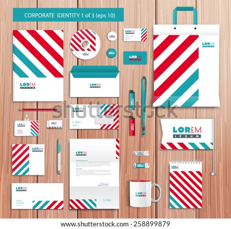 White corporate id template design with red, abstract elements. Documentation for business. Eps 10 - stock vector