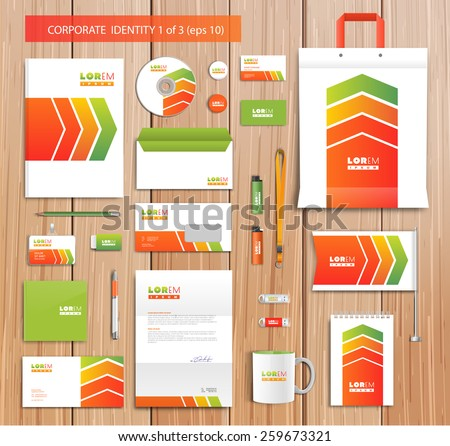 White corporate id template design with red, yellow abstract elements. Documentation for business. Eps 10 - stock vector