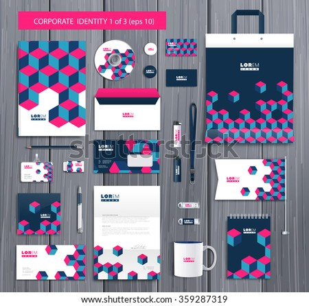 White corporate id template design with stylish cubes and pink, blue abstract elements. Documentation for business. Eps 10 - stock vector