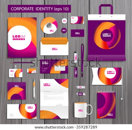 White corporate id template design with stylish design and yellow, pink abstract elements. Documentation for business. Eps 10 - stock vector