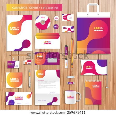White corporate id template design with violet, yellow, pink abstract elements. Documentation for business. Eps 10 - stock vector