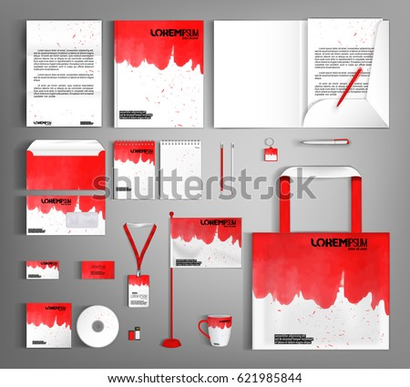 White corporate identity template design red stock vector 621985844 white corporate identity template design with red wavy spots business set stationery brochure spiritdancerdesigns Image collections