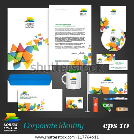White corporate identity template with color elements on background. Vector company style for brandbook and guideline. EPS 10 - stock vector