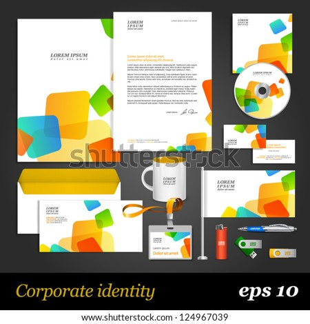 White corporate identity template with color elements. Vector company style for brandbook and guideline. EPS 10 - stock vector