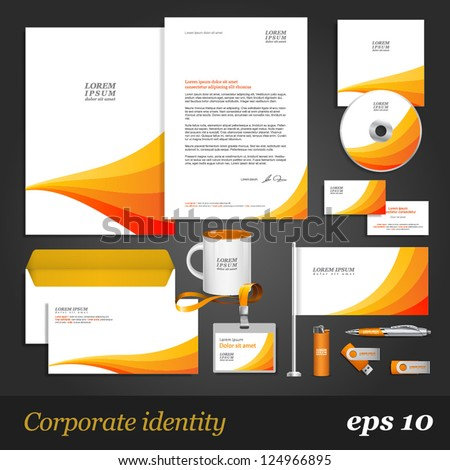 White corporate identity template with orange stripes. Vector company style for brandbook and guideline. EPS 10 - stock vector