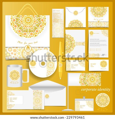 White corporate identity template with yellow mosaic elements.Vector company style for brand book and guideline. - stock vector
