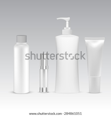 White Cosmetic containers  - stock vector