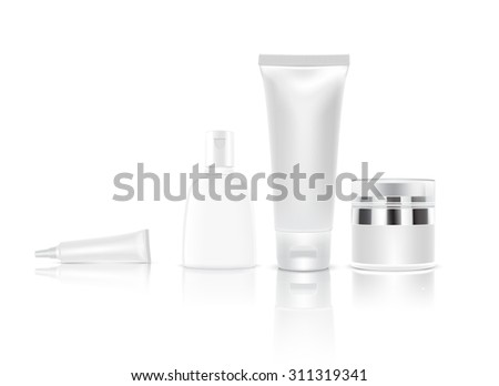 White Cosmetic containers isolated,Vector illustration, Eps 10 - stock vector