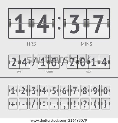 White countdown timer and scoreboard numbers. Vector illustration