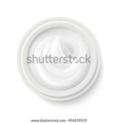 White cream in package container top view vector illustration. Cosmetic product for care to skin face