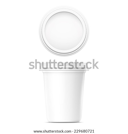 White cream pot template with transparent cap on white background. Packaging collection. - stock vector