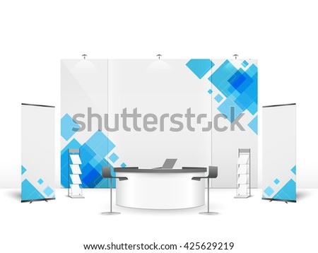 White creative exhibition stand design. Booth template. Corporate identity vector. - stock vector