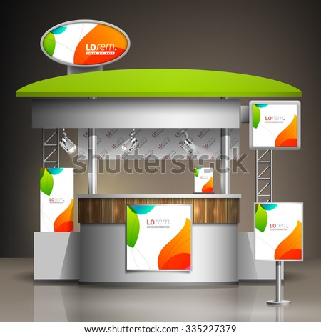 White creative exhibition stand design with color shapes. Booth template. Corporate identity - stock vector