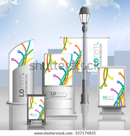 White creative outdoor advertising design for corporate identity with color art lines in different directions. Stationery set - stock vector