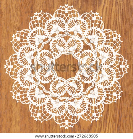 Crocheting Vector : White crochet doily. Vector illustration. May be used for digital ...