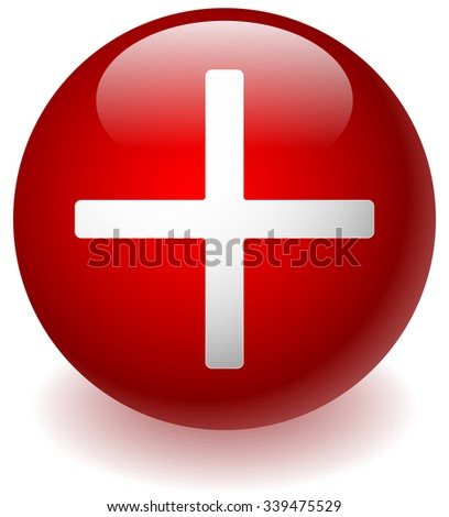 White cross over red background for healthcare concepts - stock vector