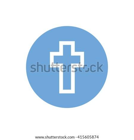 White Cross Symbol Vector Icon Blue Stockvector 415605874 Shutterstock