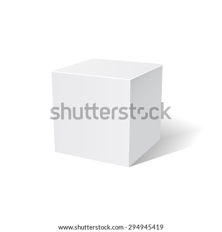 White cube. 3D. White box. Vector illustration. - stock vector