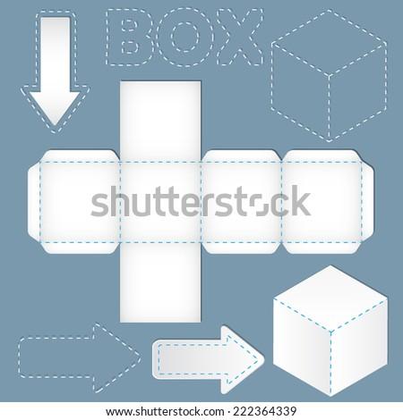 white cube net, design element - stock vector