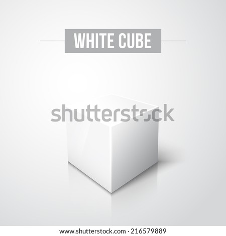 White cube on white background with reflection and shadow. Vector illustration - stock vector