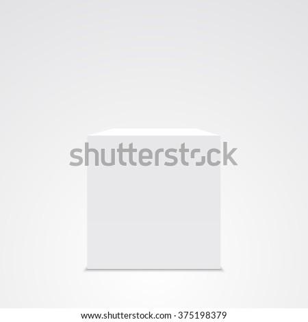 White cube. White box. 3D. Vector illustration. - stock vector