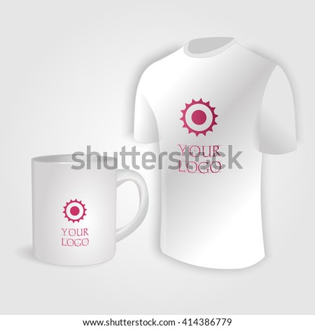 White cup and white shirt isolated on white vector. Display Mock up for corporate identity and promotion objects. - stock vector