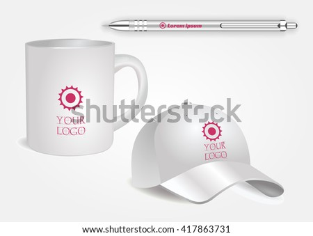 White cup, baseball cap and white pen isolated on white vector. Display Mock up for corporate identity and promotion objects. - stock vector