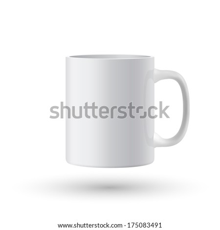 White cup. Vector illustration. - stock vector