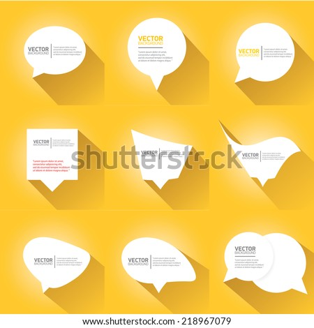 white cut paper speech bubbles on orange. speech bubbles set. vector illustration. - stock vector