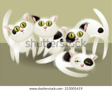 White cute cats - stock vector