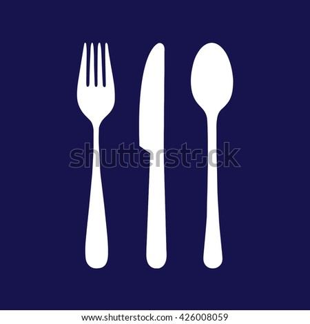 White cutlery icon set vector illustration. Blue background